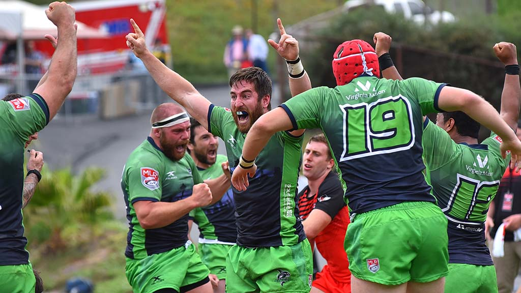 Seattle Seawolves celebrate decisive try that returns them as champions of Major League Rugby.