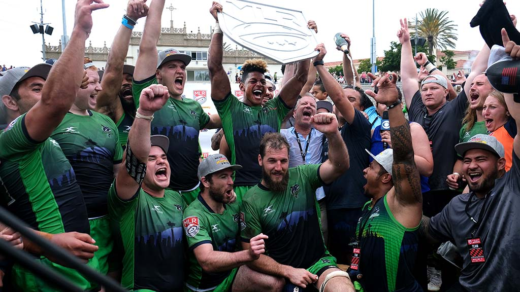 Seattle Seawolves celebrate second Major League Rugby title at the University of San Diego's Torero Stadium.