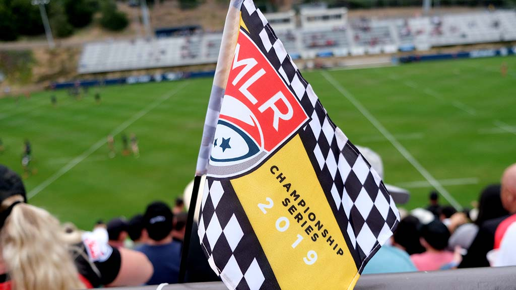 Flags and rally towels were given to fans at Torero Stadium for the Major League Rugby title ga