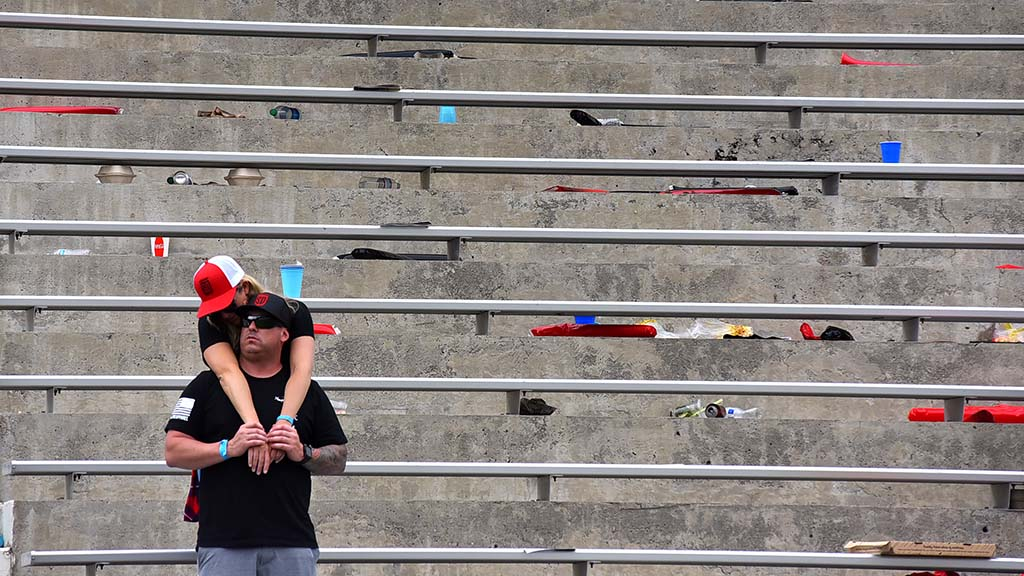 Disappointed San Diego fans linger after the stands clear out at Major League Rugby championship.