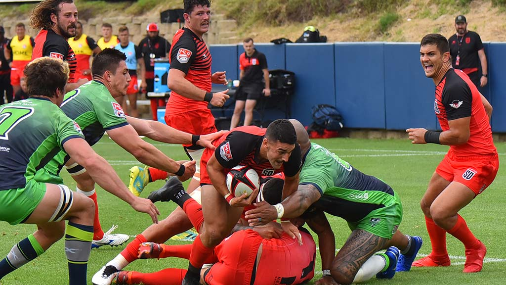 San Diego controls the ball against Seattle in the Major League Rugby title game.