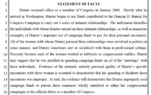"Government motion detailing Rep. Hunter ""romances"" and ""intimate relationships."" (PDF)"