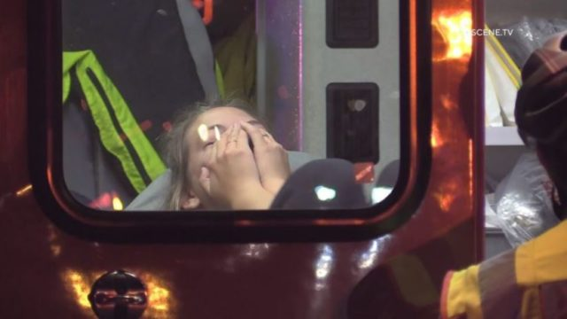 Victim of BB-gun shootings inside an ambulance