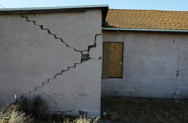 Cracks in a building after an earthquake