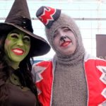 Megan Topmiller and her son, Kiefer, of Temcula, dress as The Wicked Witch and a Flying Monkey at Comic-Con 2019.