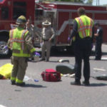 CHP officers and paramedics at the scene of the crash