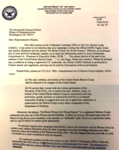 Marine Corps Trademark Licensing Office letter to Rep. Duncan Hunter. (