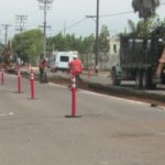 Crews removing and paving over the tracks on Cleveland Avenue