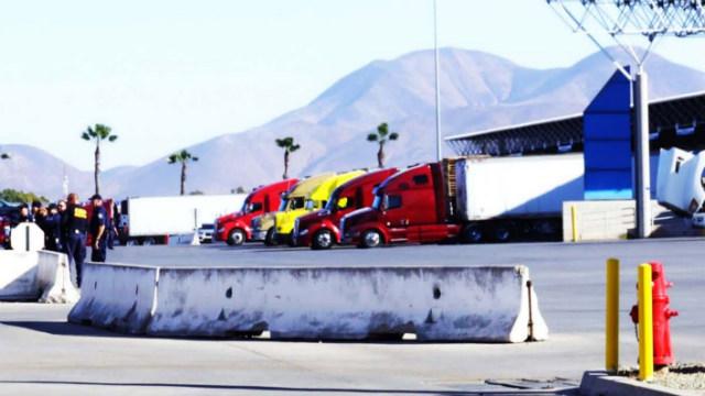 Trucks at the Otay Mesa port of entry