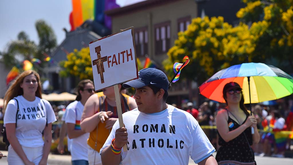 Members of Catholic parishes show their support in the San Diego 2019 Pride Parade.
