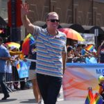 San Diego Mayor Kevin Faulconer accompanies the Mayor of Hillcrest down the parade route in the 2019 San Diego Pride Parade.