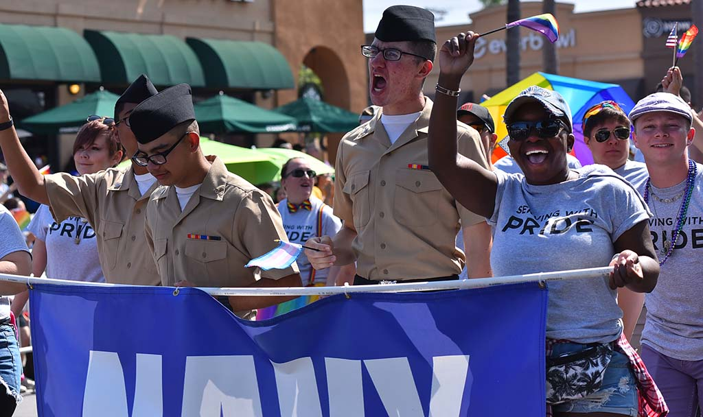 Navy service members show support for military LGBT troops.
