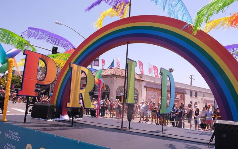 A colorful float was entered by the San Diego Community College District.
