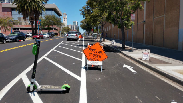 A protected bike lane on Beech Street