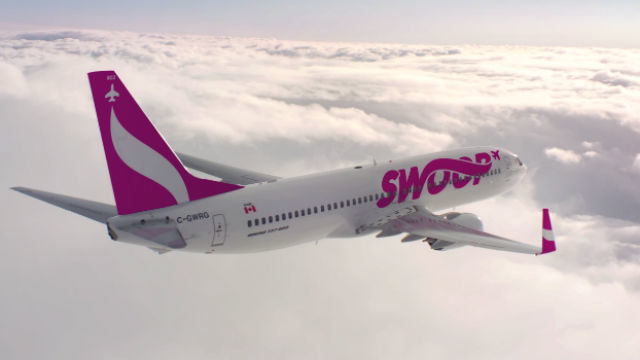 Swoop jetliner in flight