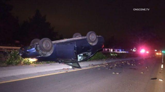 Flipped car on Poway Road