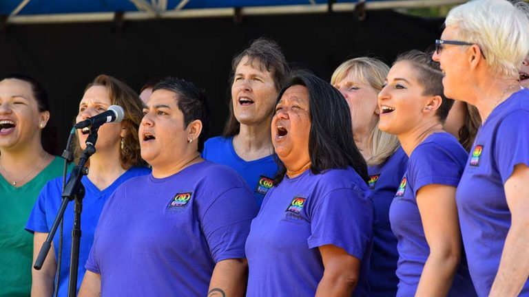 Members of the San Diego Women's Chorus entertained hundreds at the She Fest in North Park.