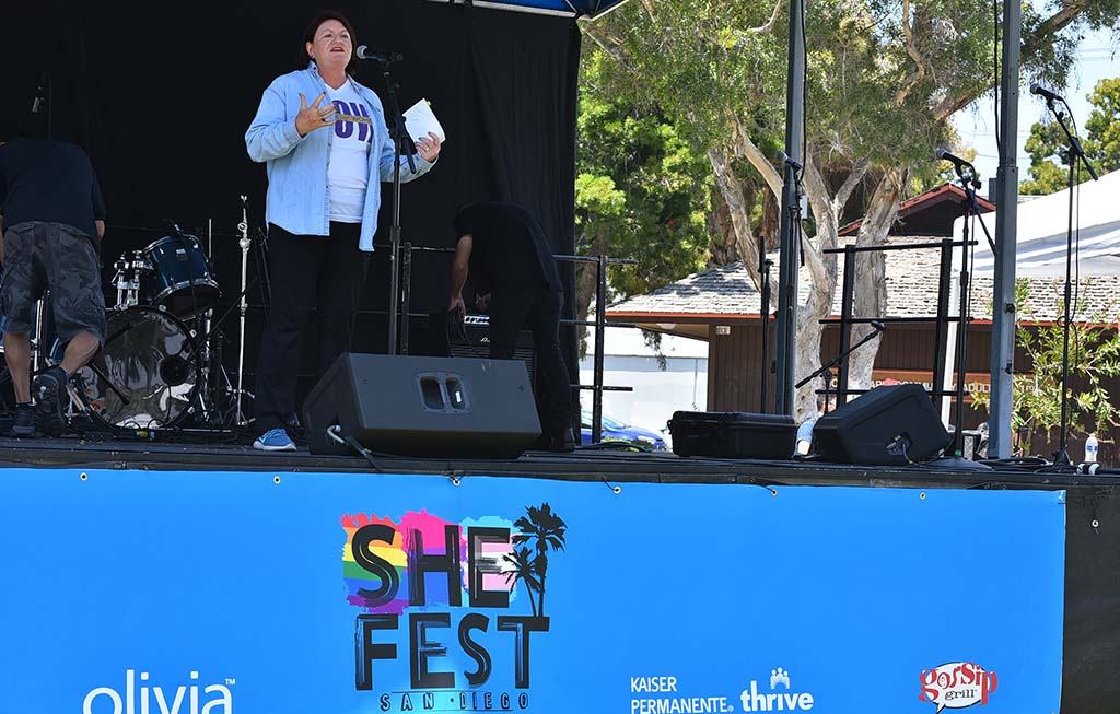 State Senate President pro Tempore Toni Atkins speaks to hundreds of attendees at She Fest in North Park.