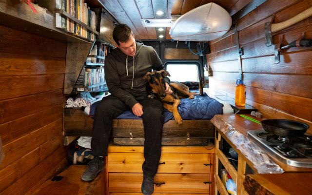Travis Wild inside his van