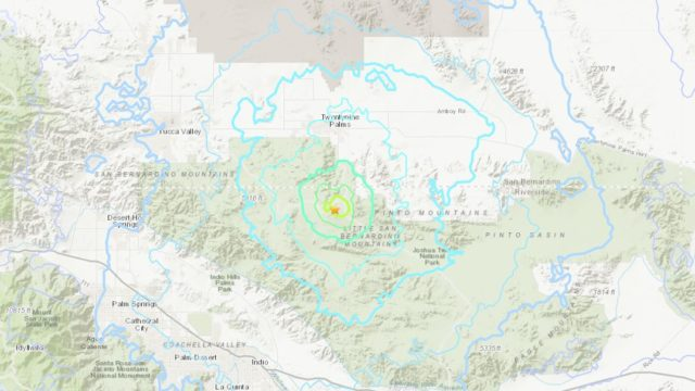 Location of the earthquake in Twentynine Palms
