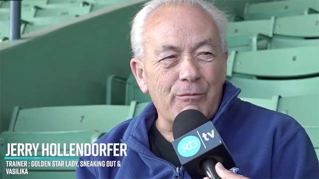 Trainer Jerry Hollendorfer interviewed at Santa Anita racetrack in May 2019.