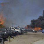 Burning cars at storage yard in National City