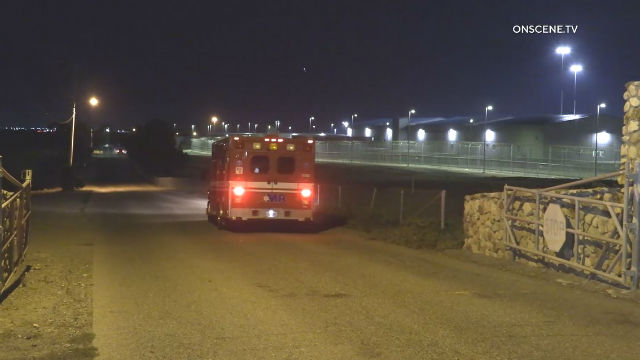 Ambulance enters Richard J. Donovan Correctional Facility