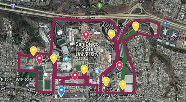Pink lines show geofence around San Diego State University.  Yellow pins are designated parking areas for electric devices.