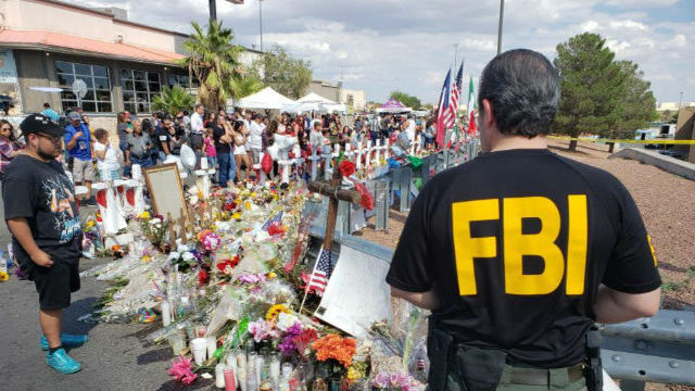 A memorial at the scene of the mass shooting in El Paso