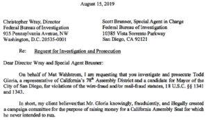 Letter to FBI chiefs in Washington and San Diego regarding Todd Gloria. (PDF)