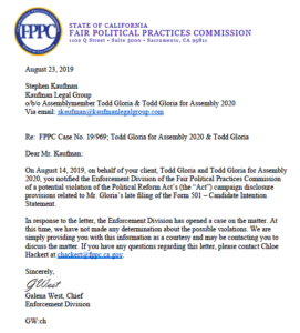 "Letters to and from the FPPC regarding the Todd Gloria ""self-referral."" (PDF)"
