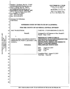Late filings Wednesday by Todd Gloria lawyer Gary Winuk. (PDF)