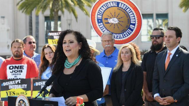 Lorena Gonzalez speaks at rally