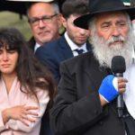 Chabad of Poway Rabbi Yisroel Goldstein speaks at gravesite of Lori Gilbert Kaye at El Camino Memorial Park.