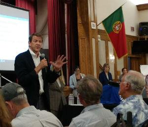 Marshall Merrifield speaks at the meeting