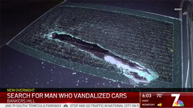 Car window smashed in Bankers Hill.