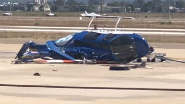 CBS News 8 helicopter after hard landing