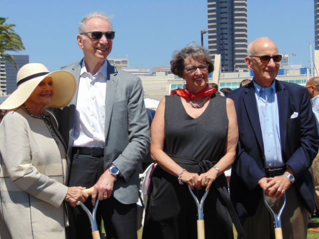 Joan Jacobs (left), Irwin Jacobs, Martha Gilmer and Earnest Rady after the groundbreaking.