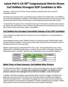Summary of poll commissioned by Carl DeMaio in 50th Congressional District. (PDF)