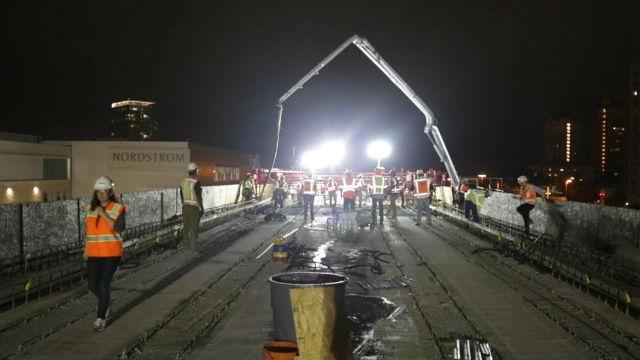 Concrete pour for trolley extension