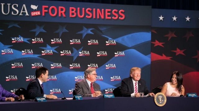 President Trump at a roundtable discussion with small business owners