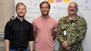From left: UCSD's Jordan Coursey and Aj Langley with and Chief Machinist's Mate Aaron Thiss, Force Readiness Analytics Group, Commander, Naval Air Forces. They pose in front of their statistical model they developed over the summer during National Security Innovation Network's first X-Force internship. The team worked to develop a way to complete predictive aircraft maintenance before the aircraft actually breaks. U.S. Navy Photo by Mass Communication Specialist 2nd Class Chelsea D. Meiller