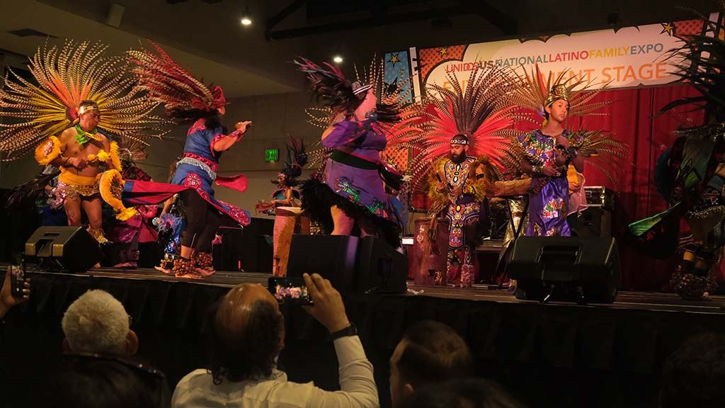 The Mexi'cayotl Indio Culture Center Aztec dancers entertained attendees at the 2019 National Latino Family Expo at the San Diego Convention Center. Photo by Chris Stone
