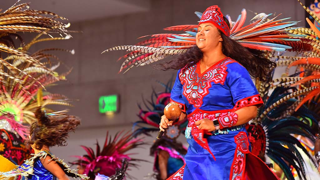 The Mexi'cayotl Indio Culture Center Aztec dancers entertained at the 2019 National Latino Expo. Photo by Chris Stone