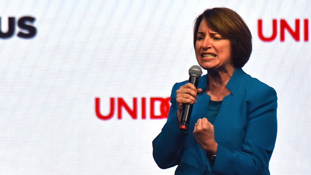 Sen. Amy Klobuchar spoke passionately about immigrants and gun violence at the annual UNIDOS US conference in San Diego. Photo by Chris Stone