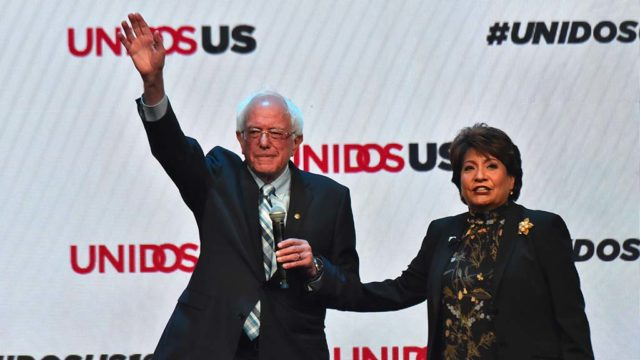 Sen. Bernie Sanders, alongside UNIDOS US Janet Murguía greets Hispanic leaders at their annual conference at the San Diego Convention Center. Photo by Chris Stone