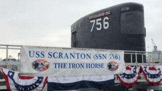USS Scranton decorated for the change-of-command ceremony