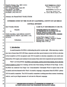 Documents filed by Mat Wahlstrom, seeing temporary restraining order against Todd Gloria.