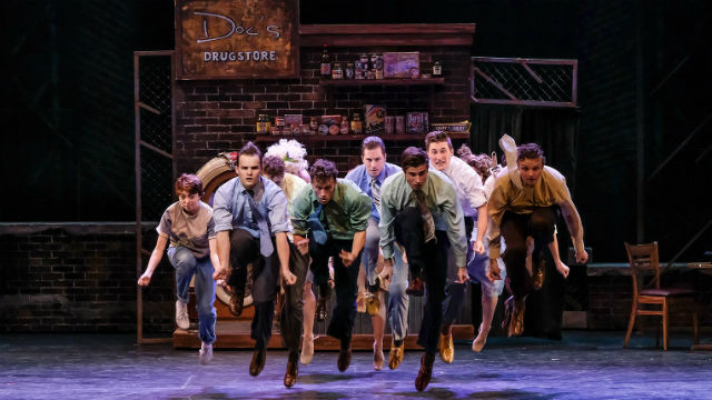 "The airborne cast of ""West Side Story."""