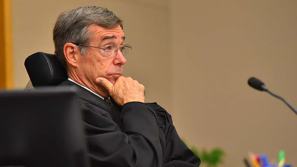 "Judge Ronald Frazier listens to arguments for and against a temporary restraining order in Todd Gloria ""Assembly 2020"" campaign fund case."